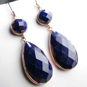 56 ctw SAPPHIRE Rose gold over Silver Earrings